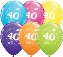 40th Birthday - 11 Inch Balloons 6pcs
